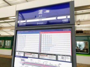 淀駅の看板の画像